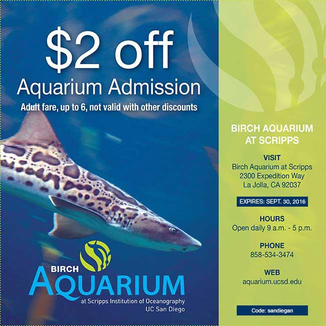 $2 Off Admission to Birch Aquarium San Diego