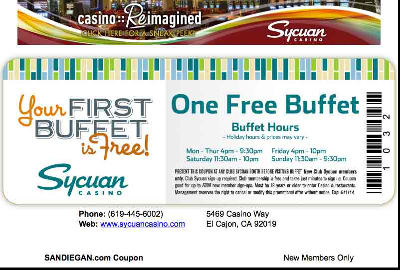 Sycuan Casino One Free Buffet