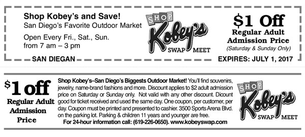 Kobey's Swap Meet Coupon
