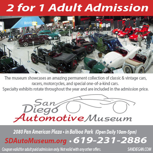 2 for 1 Admission San Diego Automotive Museum