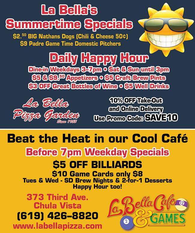 La Bella Cafe & Games Summertime Specials