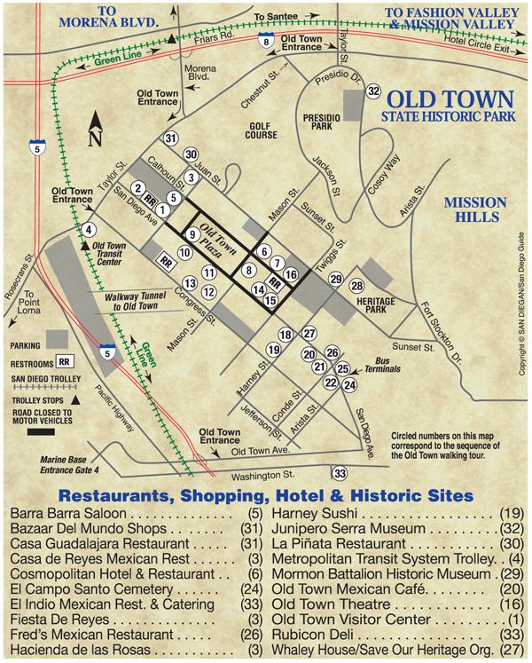 Old Town San Diego Map is helpful for tours