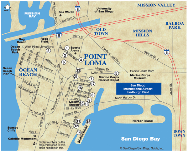 Point Loma and Harbor Island Map