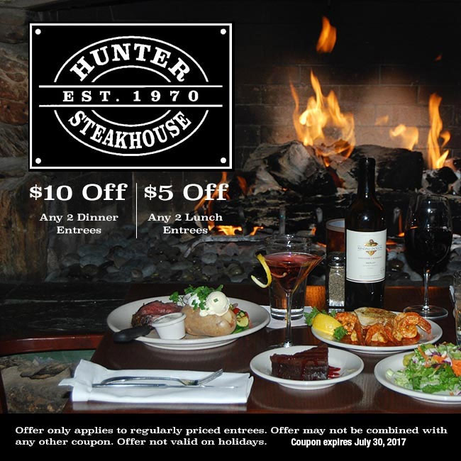 $10 Off Dinner and $5 Off Lunch at Hunter Steakhouse