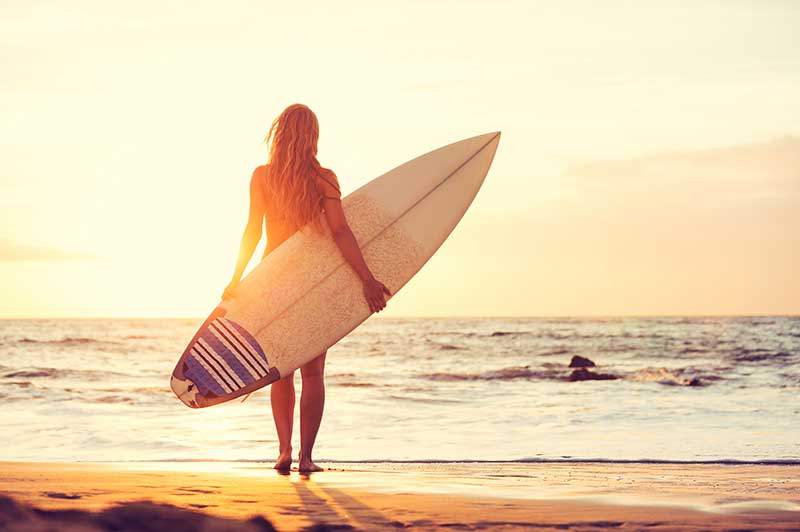 Surfer Girl on San Diego Beach