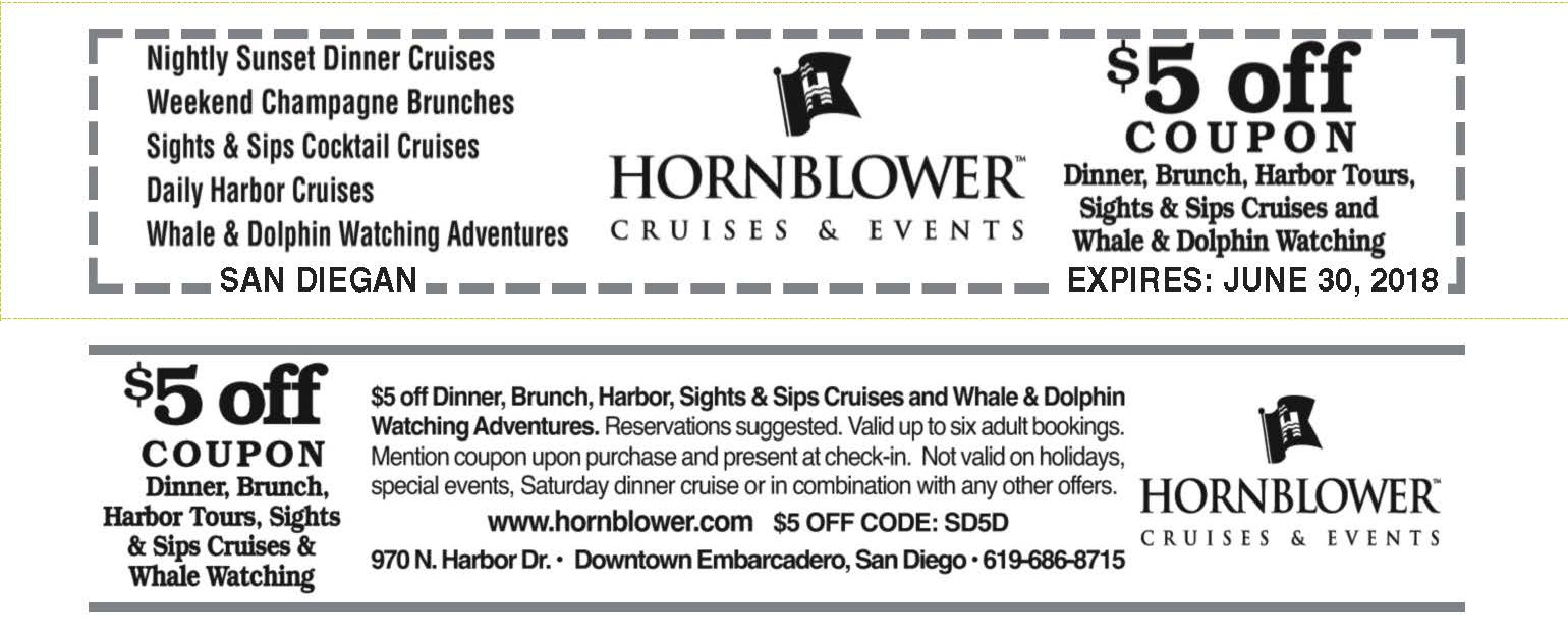 Hornblower Cruises Coupons San Diegan