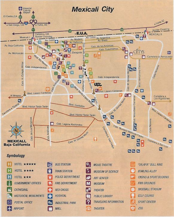 Mexicali Map, Baja California, Travel